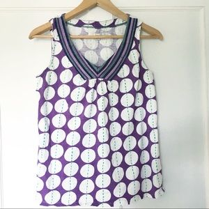 Boden Purple Dots Tank Top Embroidered V Neck 6
